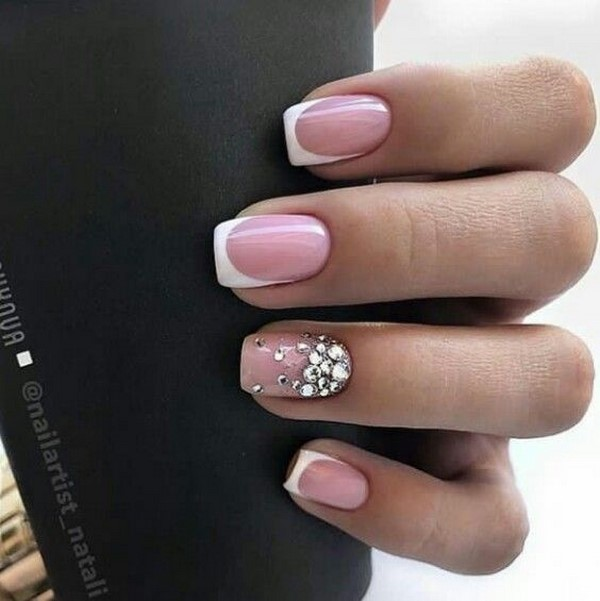 Fashion nails with rhinestone decoration top ideas and trends
