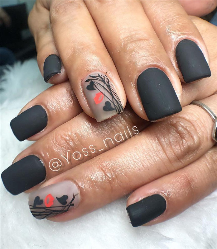 Trendy Black Nails Designs Inspirations 2019, #BlackNails, #BlackNailDesigns, #NailsDesigns