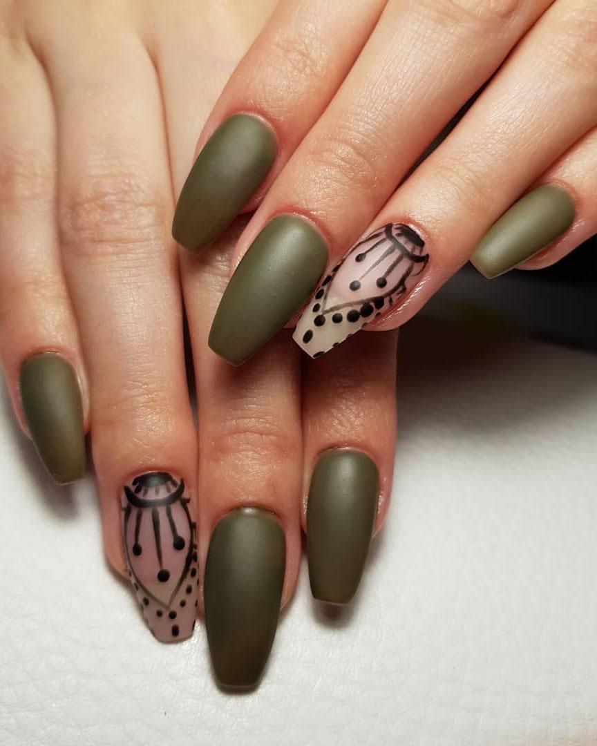 Trendy Elegant Long Matte Nails Art Inspirations, #Nails, #NailsArt, #MatteNailsArt