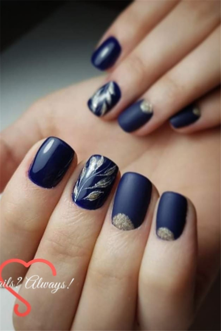 50 Trendy Dark Blue Nail Art Designs For 2019 Page 13 Of
