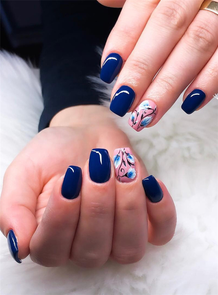 50 Trendy Dark Blue Nail Art Designs For 2019 Page 18 Of