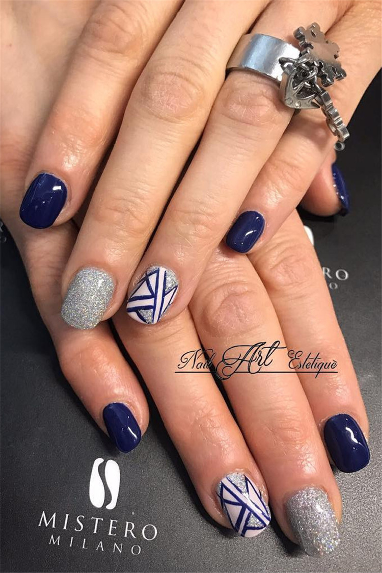 50 Trendy Dark Blue Nail Art Designs For 2019 Page 35 Of