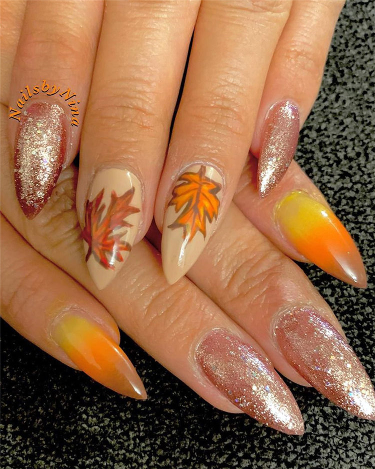 Fall Leaf Nail Art Designs - Fall leaves on nails right now are super-trendy. We searching for 150 best examples. Be ready to get inspiration! #FallNails #NailsArt #NailsDesign #Nails