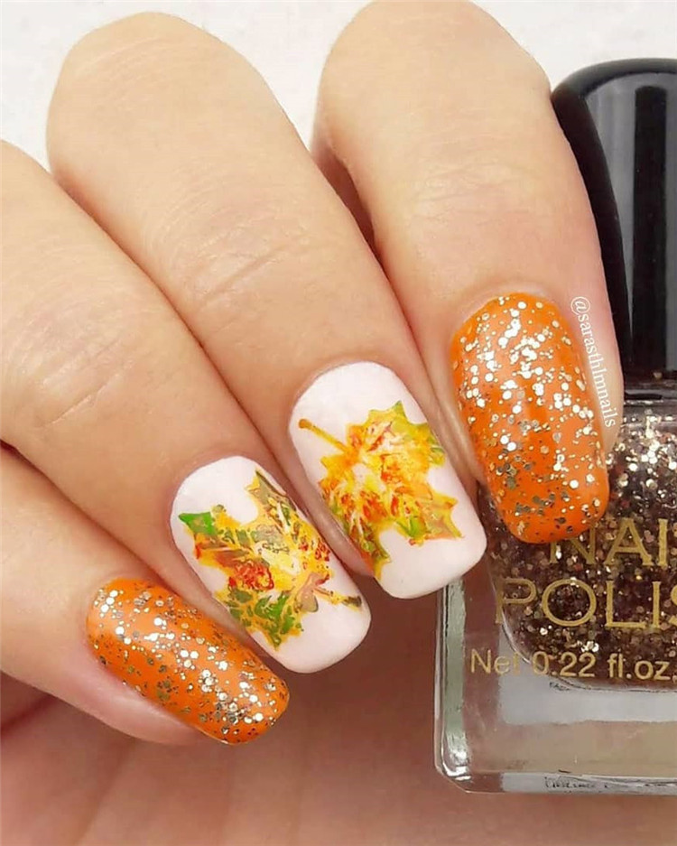 Gel Nail Ideas for Fall autumn, Nail Designs Autumn, Fall Nail Colors, Acrylic Nails Designs for Fall, #NailArt #NailDesigns