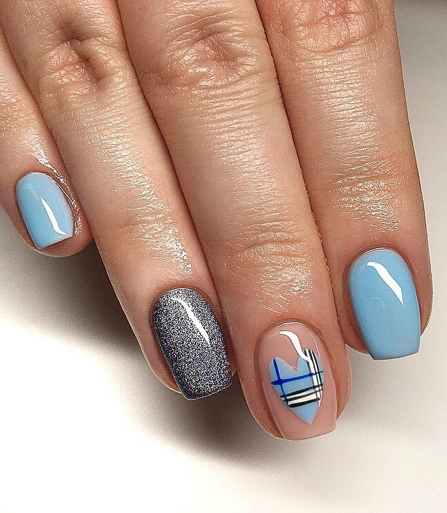 66 cute, simple, and beautiful valentine's day nail ideas (nature, acrylic, and gel nails). You can make your favorite nail designs more fashion by adding glitter. Click to see more nail art ideas. #NailArt #ValentineNails