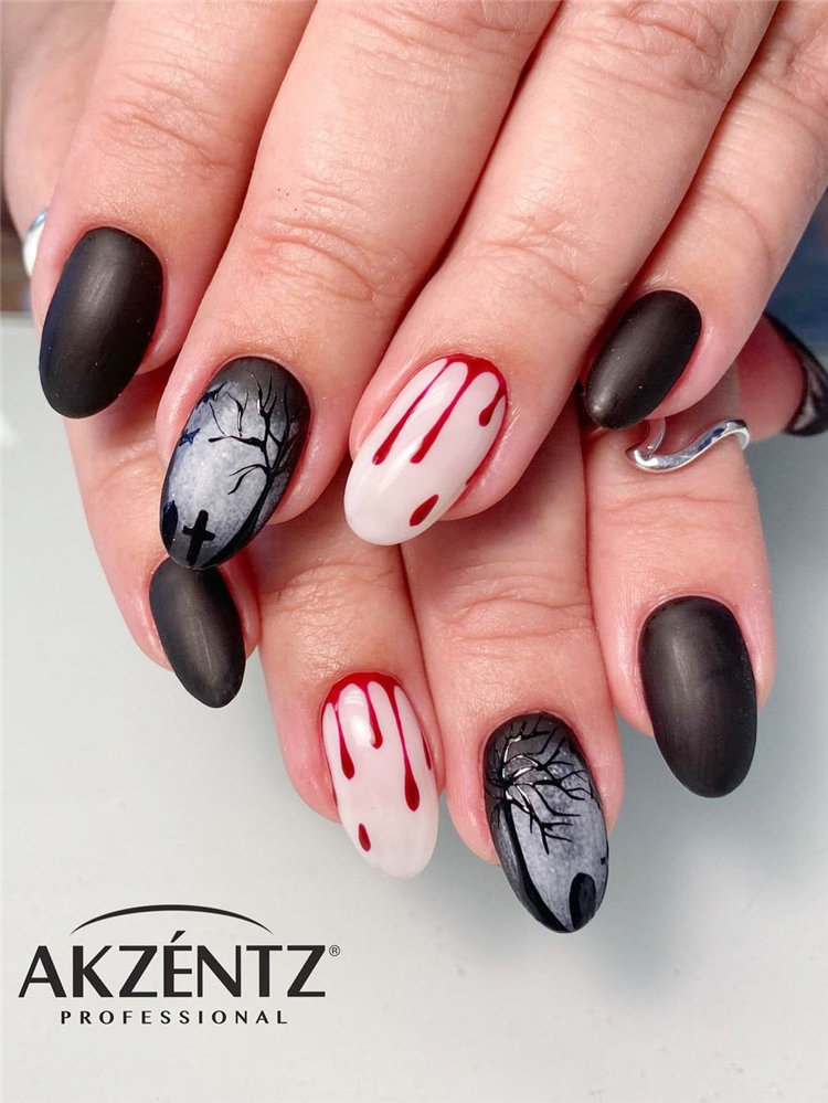 Next, we have 10 blood nails art for Halloween. Blood nails looks creepy. Take a look and get nails design inspiration. #HalloweenNails #BloodNails
