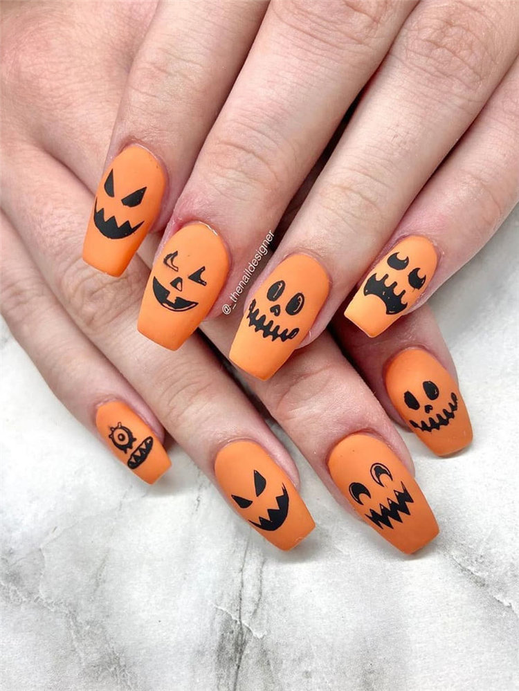 These ideas are pumpkin nail art for halloween. Pumpkin nails are the most popular nails in October. Take a look and get nails design inspiration. #HalloweenNails #PumpkinNails