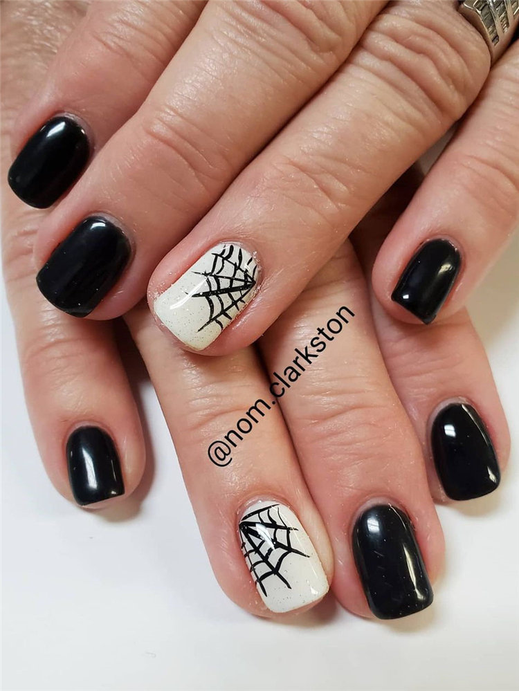 Next, we have 10 spider and web nails for Halloween. Some spider web nails looks cute while some looks spooky. Take a look and get nails design inspiration. #HalloweenNails #SpiderWebNails