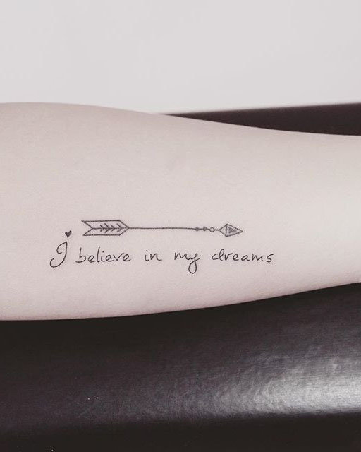 Adorable Bow And Arrow Tattoo On arm.  Bow and arrow tattoo designs are becoming truly fashionable, especially among women.